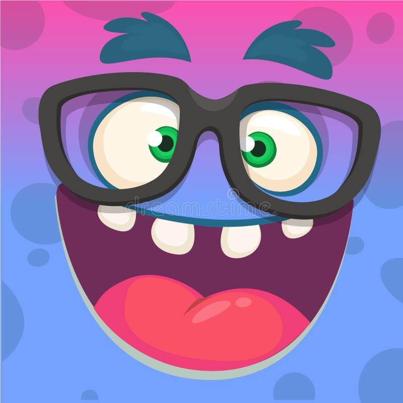 Gezicht die van het beeldverhaal het grappige slimme en slimme monster glazen dragen Vector illustratie royalty-vrije illustratie