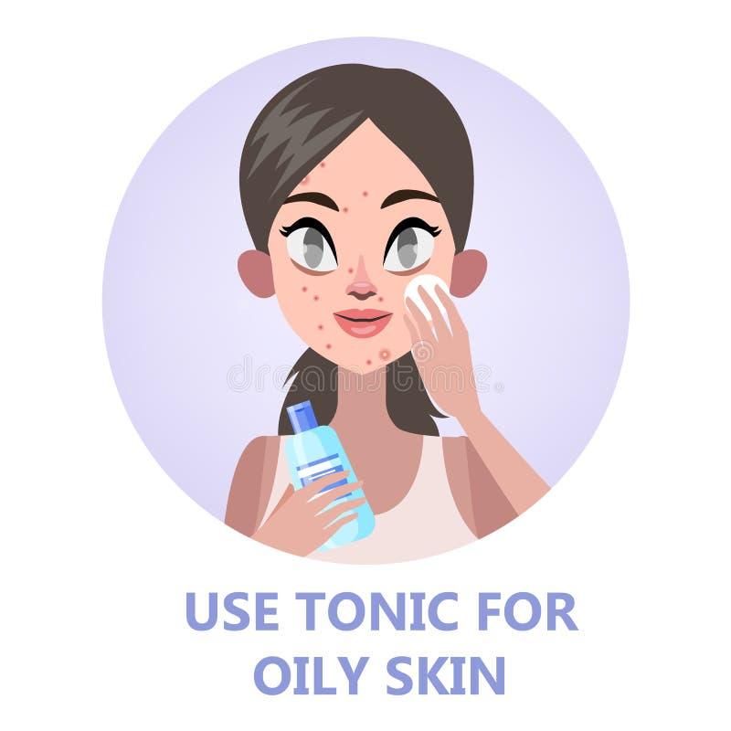 Gezicht het reinigen met tonicum voor huidschoonheid stock illustratie