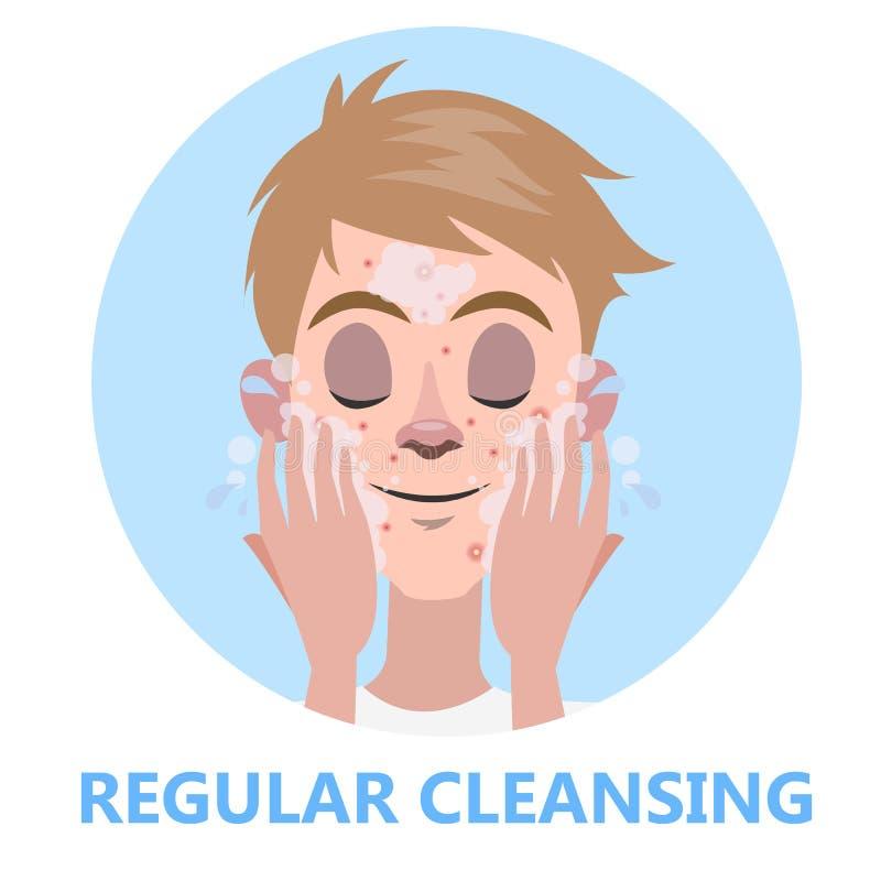 Gezicht het reinigen voor huidschoonheid Mens die zijn gezicht wassen vector illustratie