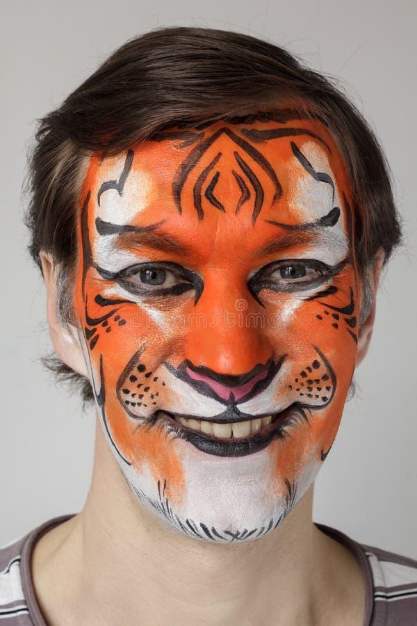 Gezicht het schilderen tijger royalty-vrije stock fotografie
