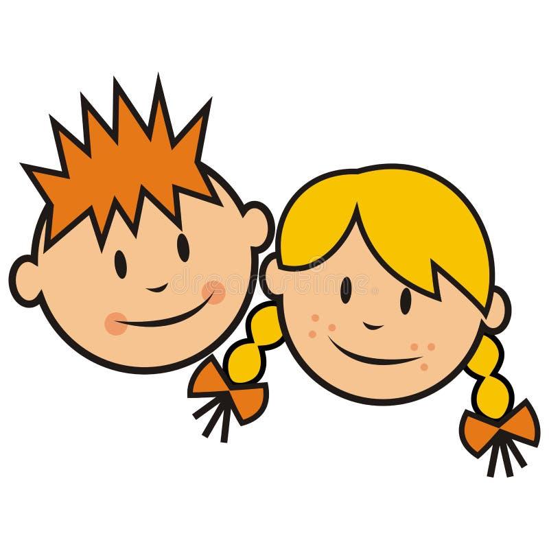 Gezicht, jongen en meisje vector illustratie