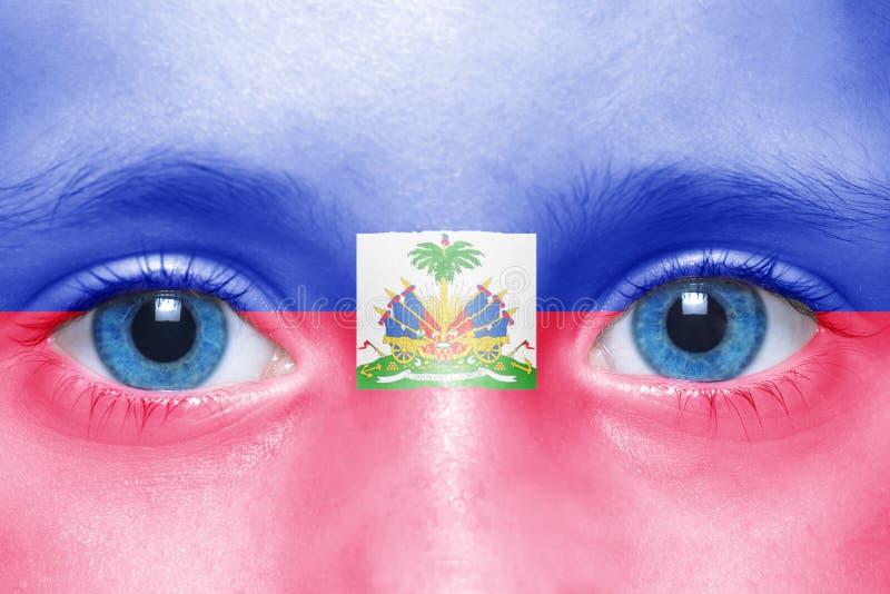 Gezicht met haitian vlag stock afbeelding