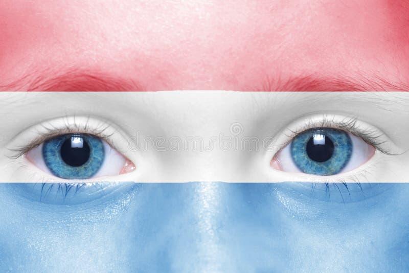 gezicht met Nederlandse vlag royalty-vrije stock afbeelding