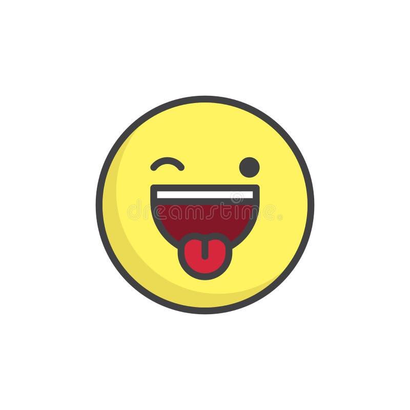Gezicht met plakken-uit tong en het knipogen gevulde ogen emoticon outl vector illustratie