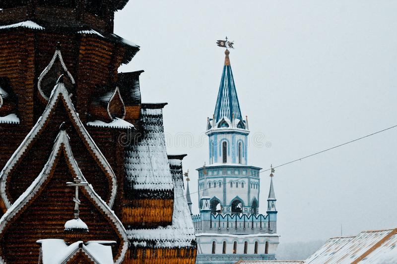 Gezicht in Moskou, het Kremlin in de winter in Izmailovo stock foto's