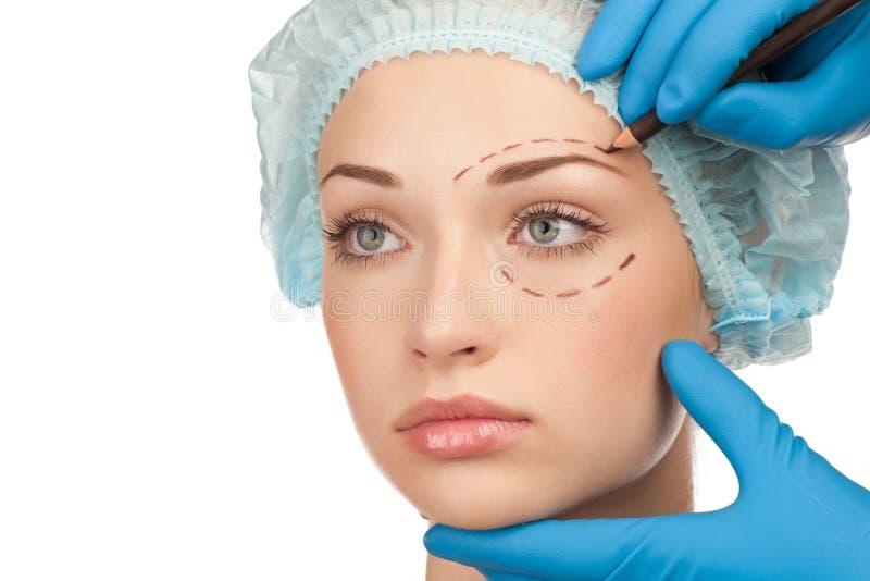 Gezicht vóór plastische chirurgieverrichting stock afbeelding