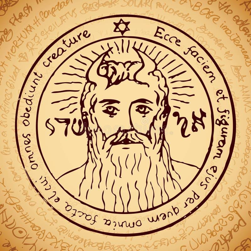 Gezicht van Almachtig met magische symbolen vector illustratie