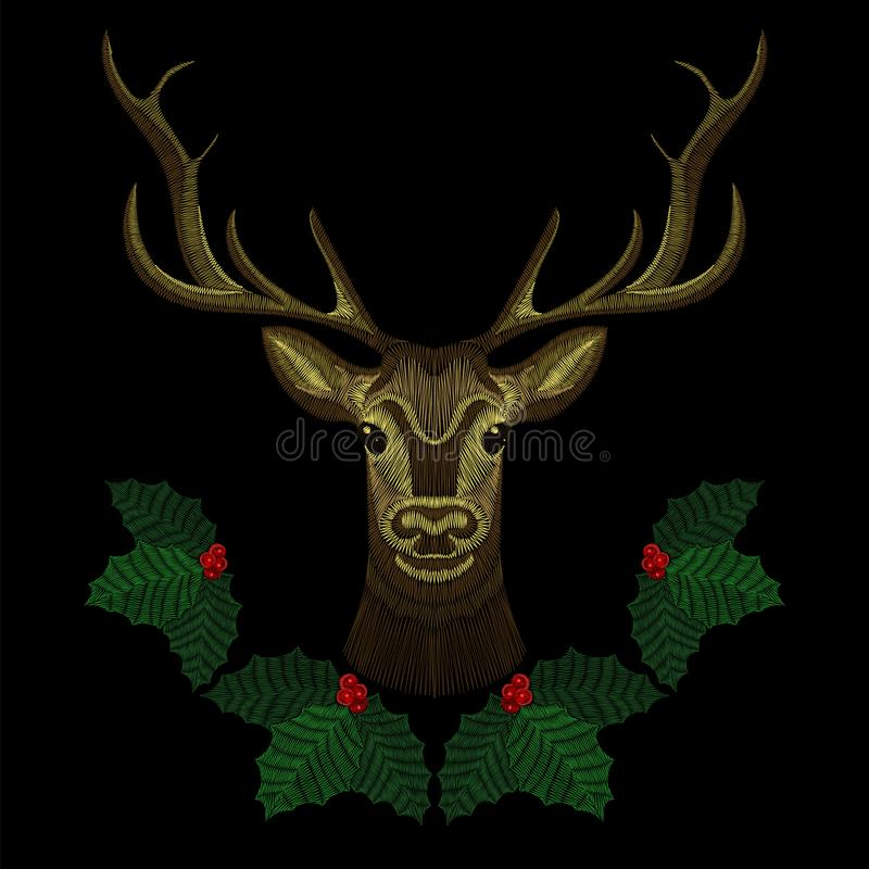 Gezicht van borduurwerk ontwerpt het leuke herten met de kroon van de Kerstmismaretak, hoorn-herten voor manier het dragen Gebord vector illustratie