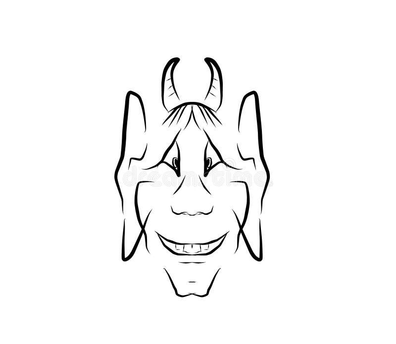 Gezicht van de duivel of Faun goede illustratie van 2D zwart-wit royalty-vrije illustratie