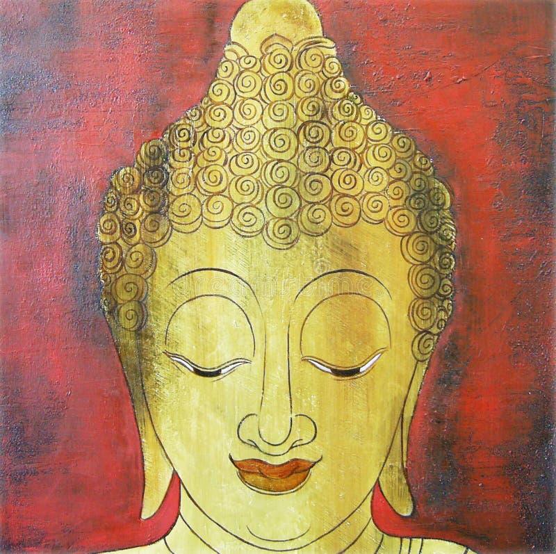 Gezicht van de illustratie van Boedha het schilderen meditatie stock afbeelding