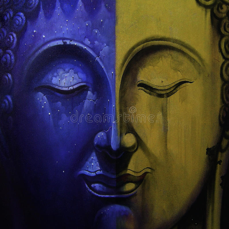 Gezicht van de illustratie van Boedha het schilderen meditatie royalty-vrije stock foto