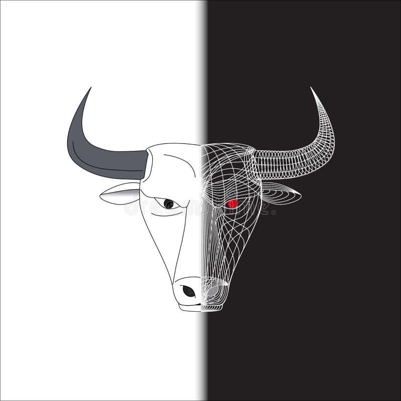 Gezicht van de stieren het halve draad stock afbeeldingen