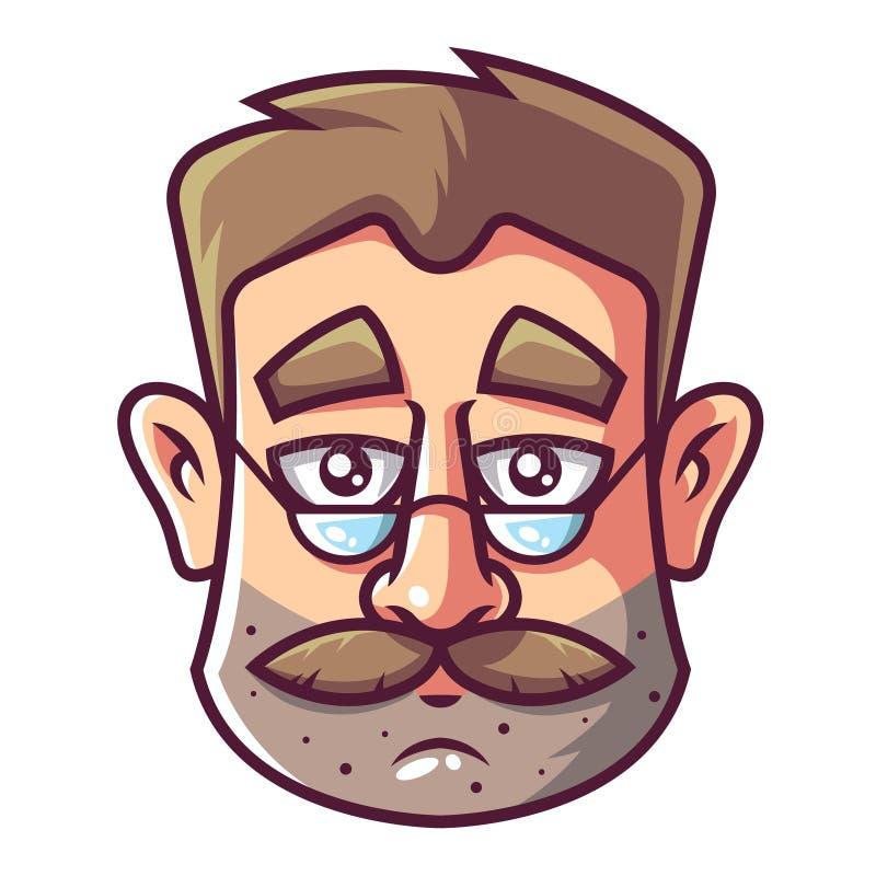Gezicht van een mens met een baard en glazen vector illustratie