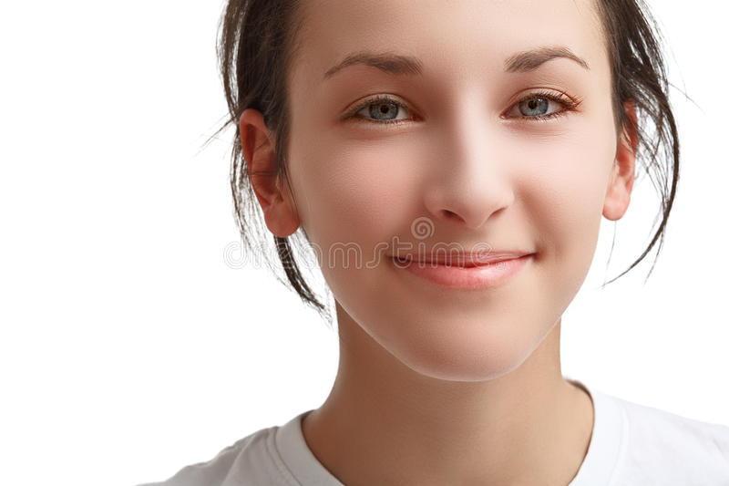 Gezicht van een mooi glimlachend meisje royalty-vrije stock afbeelding