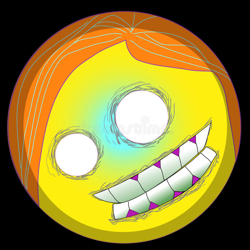 Gezicht van emojismiley van pop-arthalloween het vector voor editable digitale emoji Clipart 2d eps van het t-shirtmonster emotic vector illustratie