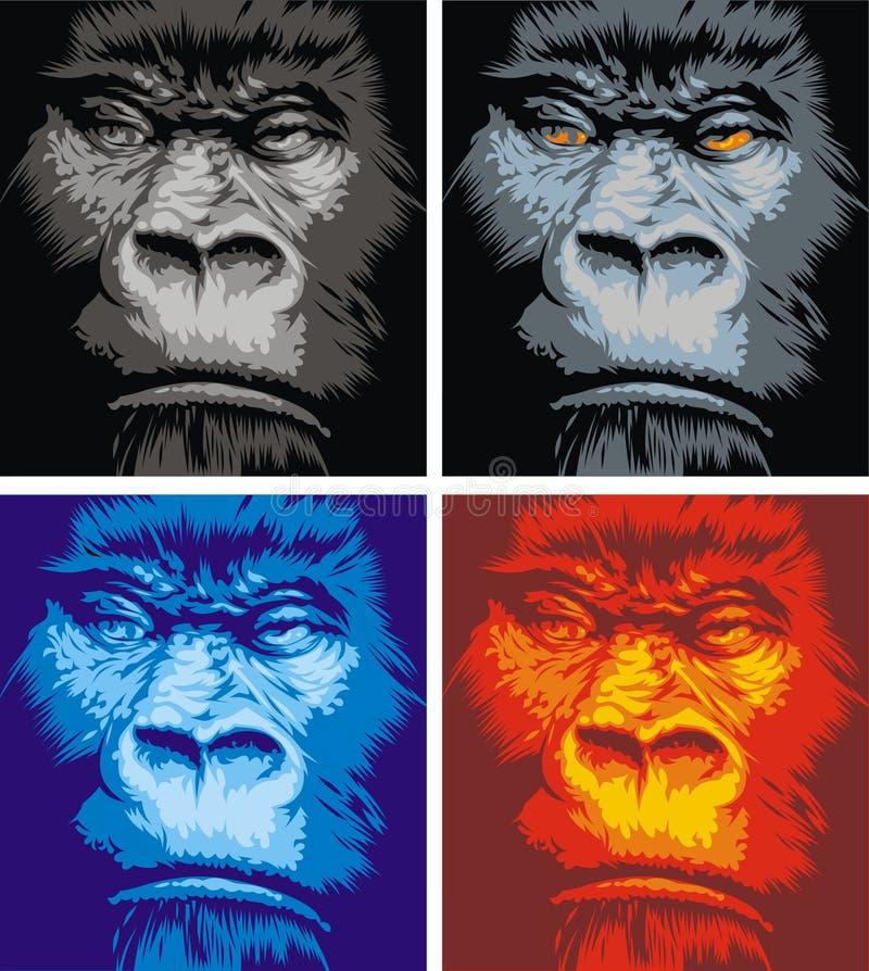 Gezicht van gorilla vector illustratie