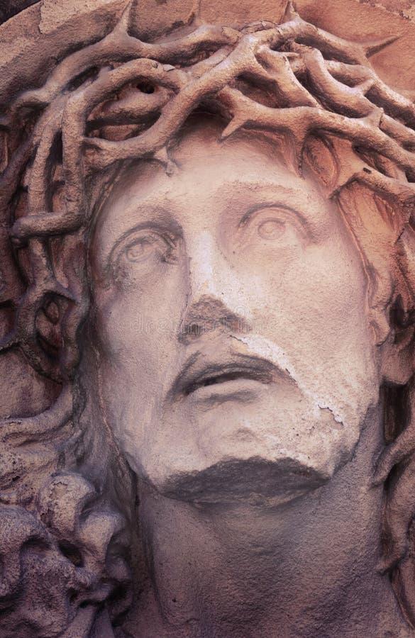 Gezicht van Jesus Christ (standbeeld, gestileerde wijnoogst) stock fotografie
