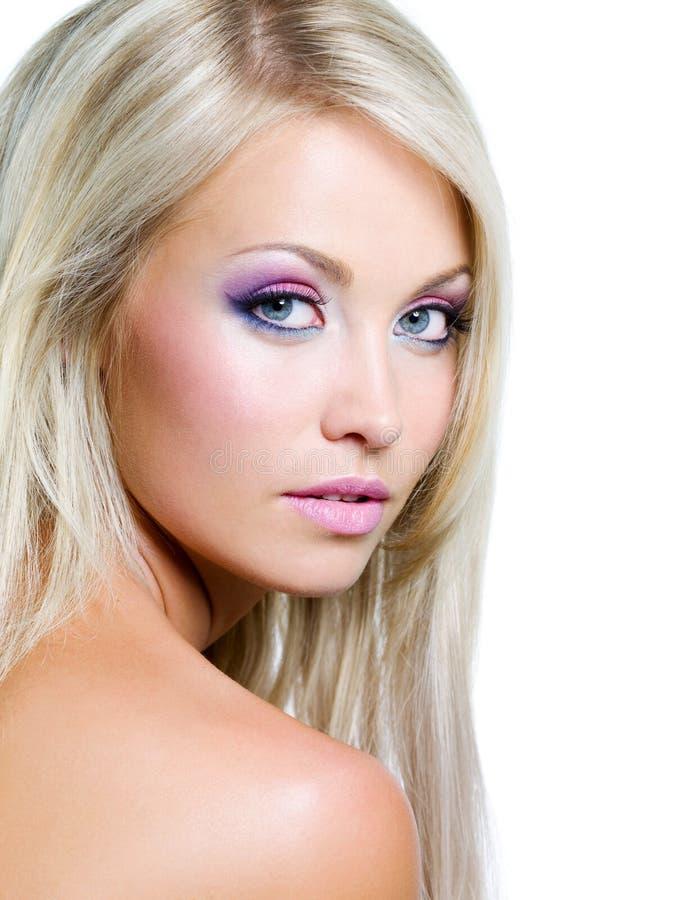 Gezicht van mooie blonde vrouw royalty-vrije stock afbeeldingen
