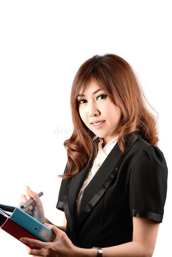 Gezicht van mooie vrouw op de achtergrond van bedrijfsmensen royalty-vrije stock fotografie
