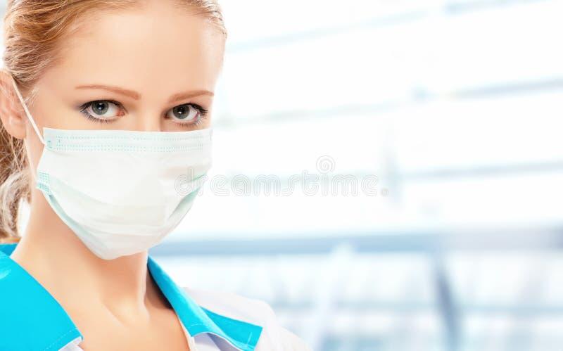 Gezicht van vrouw arts in masker royalty-vrije stock afbeelding