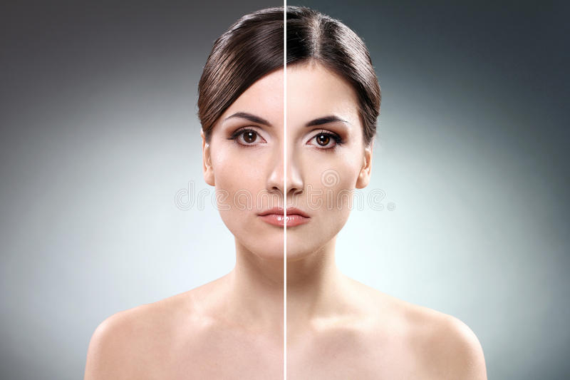 Gezicht van vrouw before and after retouch stock foto's