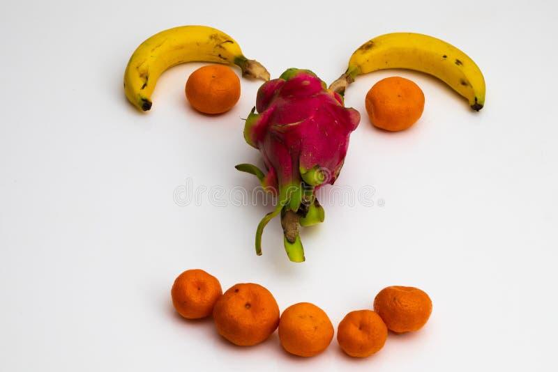 Gezicht van vruchten op witte achtergrond gezicht met verse vruchten wordt gemaakt die banaan, mandarin mandarijn stock foto's