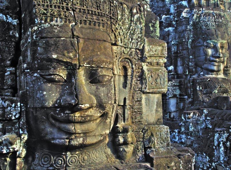 Gezichten bij angkor wat. royalty-vrije stock afbeeldingen