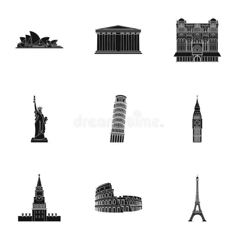 Gezichten van de landen van de wereld Beroemde gebouwen en monumenten van verschillende landen en steden Het pictogram van landen royalty-vrije illustratie