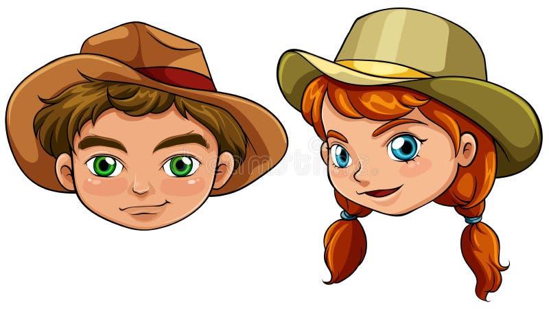 Gezichten van een jongen en een meisje stock illustratie