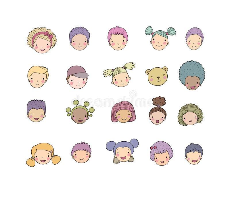 Gezichten van kinderen Leuke beeldverhaaljongens en meisjes van verschillende nationaliteiten Avatars reeks grappige jonge geitje stock illustratie