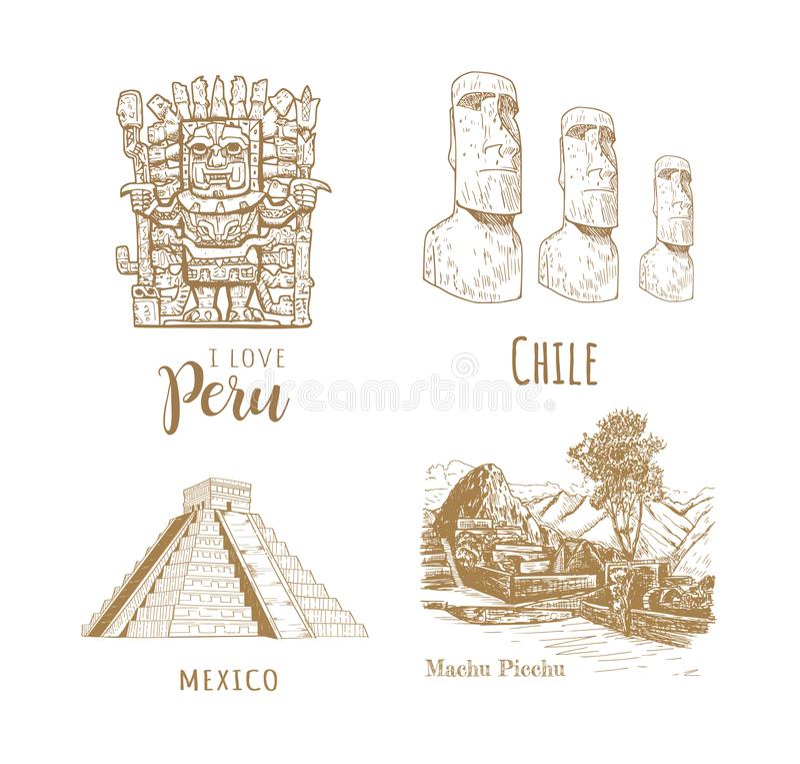 Gezichten van Latijns Amerika royalty-vrije illustratie