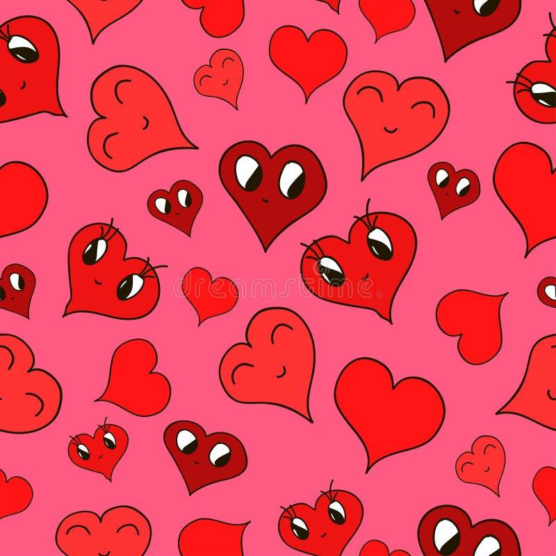 Gezichten van opgewekte harten op een roze kleur stock illustratie