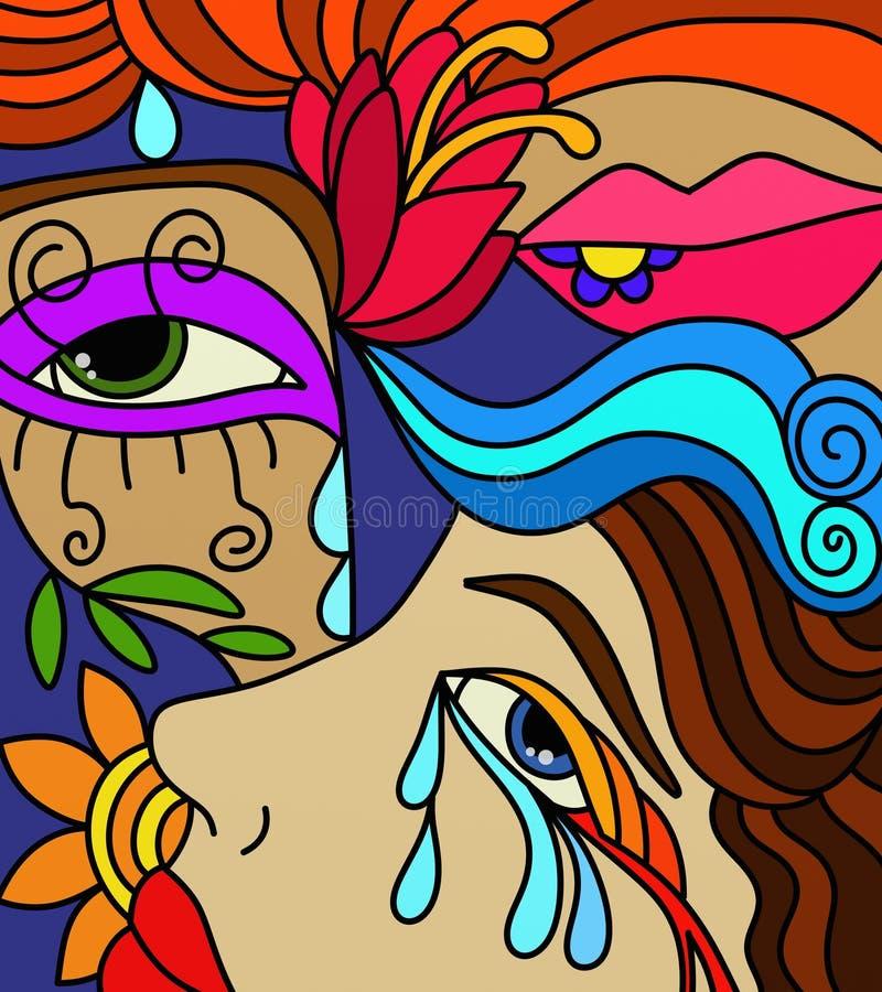 Gezichten van vrouwen royalty-vrije illustratie