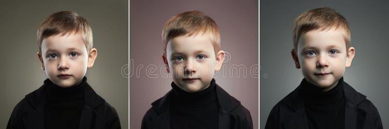 Gezichten van vrouwen De jongen van de school Grappig kind stock fotografie