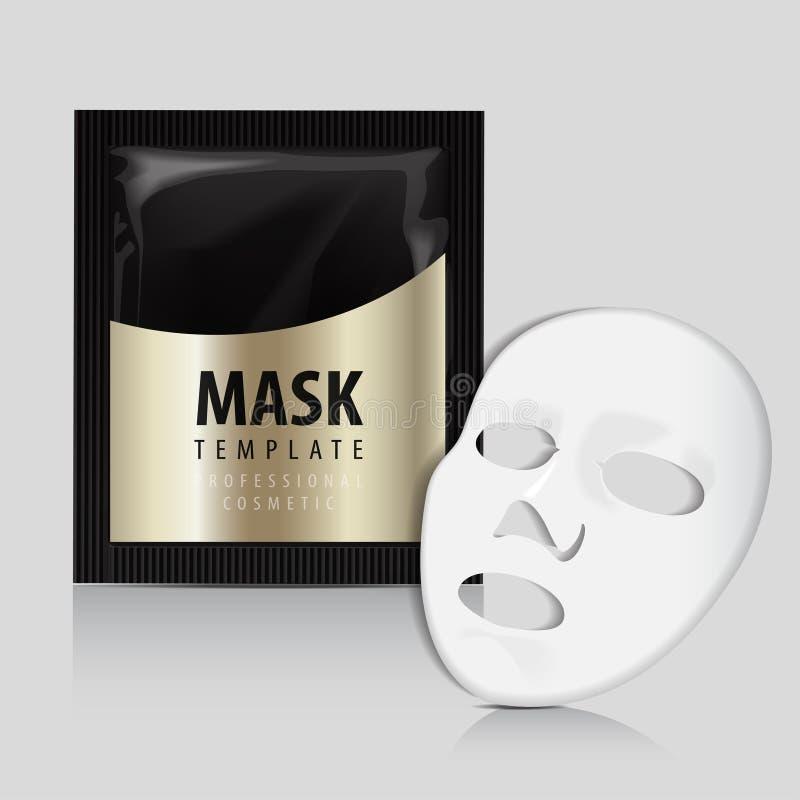 Gezichts Wit Masker Schoonheidsmiddelen Gouden Pak Vectorpakketontwerp voor gezichtsmasker vector illustratie