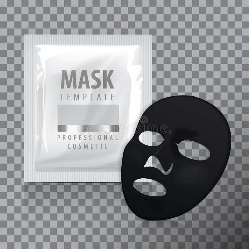 Gezichts Zwart Bladmasker Schoonheidsmiddelenpak Vectorpakketontwerp voor gezichtsmasker vector illustratie