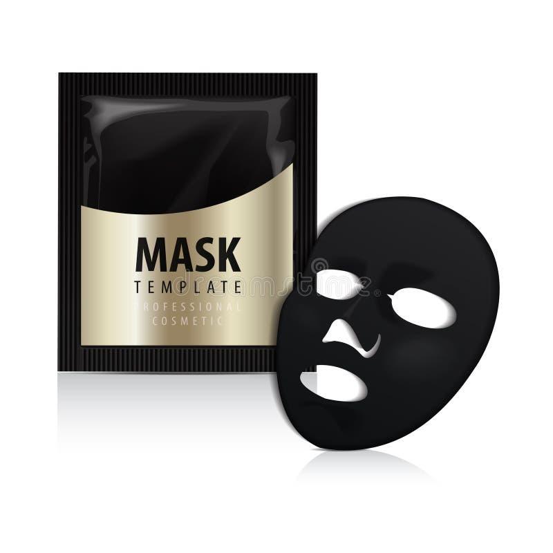 Gezichts zwart masker Schoonheidsmiddelen Gouden Pak Vectorpakketontwerp voor gezichtsmasker royalty-vrije illustratie