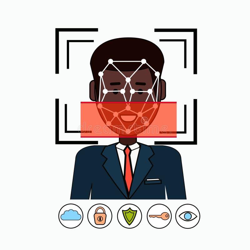 Gezichtserkenning en de Identificatie het Afrikaanse Amerikaanse Aftasten van het van Bedrijfs identificatiesysteembiometrical Me vector illustratie