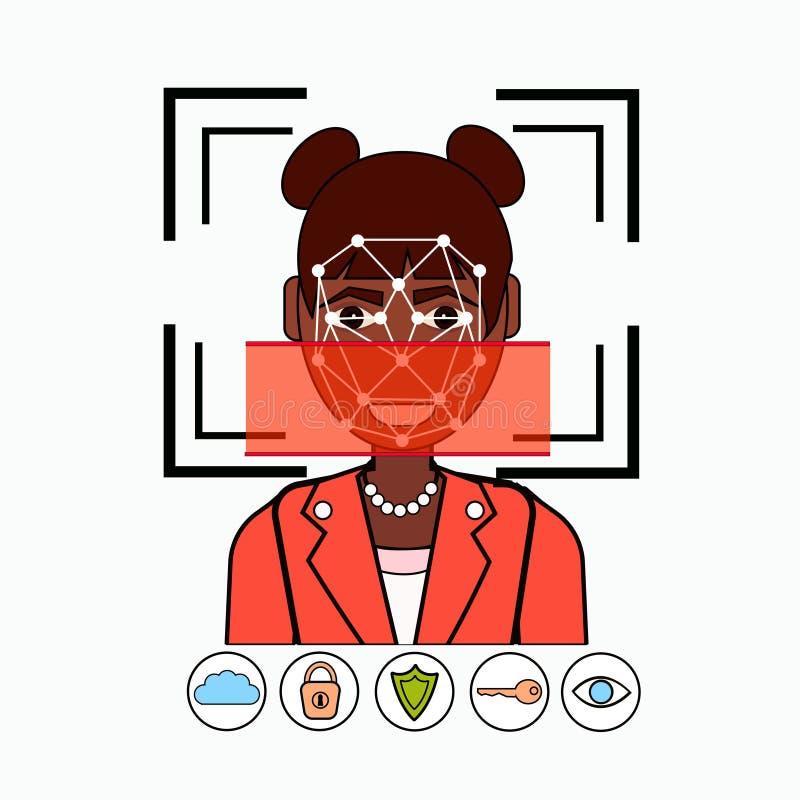 Gezichtserkenning en de Identificatie het Afrikaanse Amerikaanse Aftasten van het van Bedrijfs identificatiesysteembiometrical Vr stock illustratie