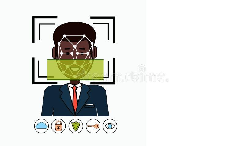 Gezichtserkenning en de Identificatie het Afrikaanse Amerikaanse Aftasten van het van Bedrijfs identificatiesysteembiometrical Me royalty-vrije illustratie