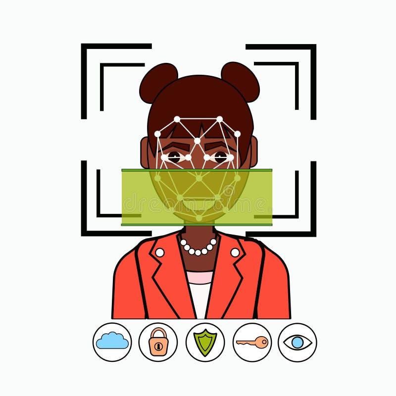 Gezichtserkenning en de Identificatie het Afrikaanse Amerikaanse Aftasten van het van Bedrijfs identificatiesysteembiometrical Vr vector illustratie