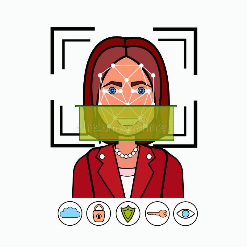Gezichtserkenning en de Identificatie het Aftasten van het van Bedrijfs identificatiesysteembiometrical Vrouwengezicht stock illustratie