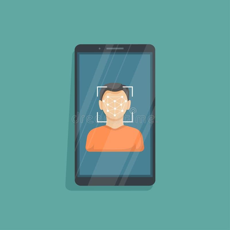 Gezichtserkenning en identificatie, concept Gezichtsidentiteitskaart, het systeem van de gezichtserkenning, mobiele app Telefoon  vector illustratie