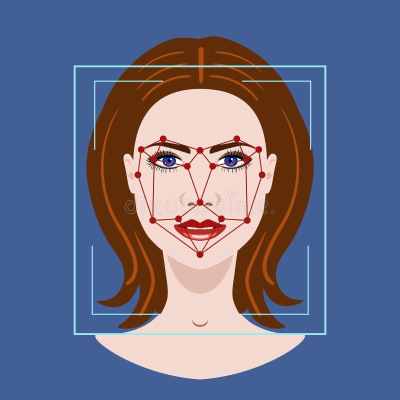 Gezichtserkenningssysteem met een gezicht van vrouw, vectorillustratie vector illustratie