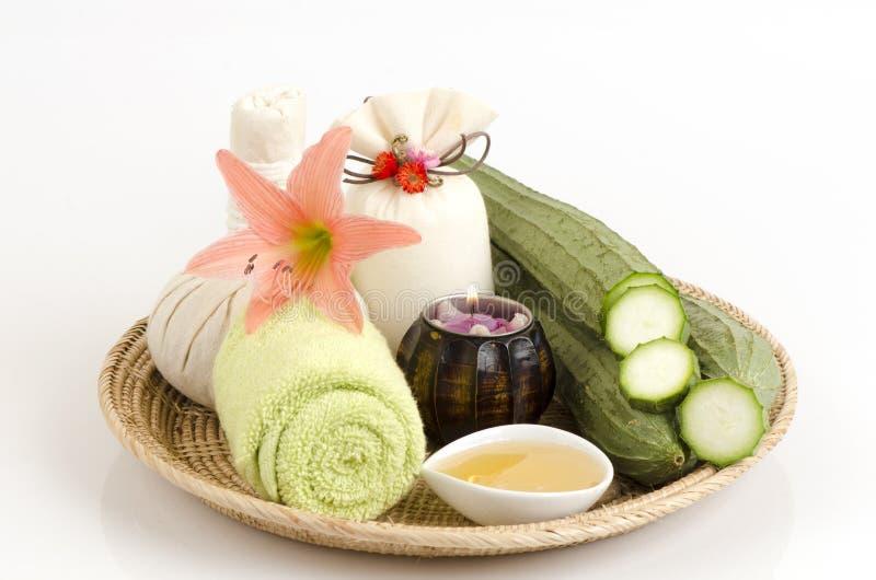 Gezichtsmasker en de honing van de lichaamsomslag en Hoekige Luffa, Hoekige pompoen stock afbeelding