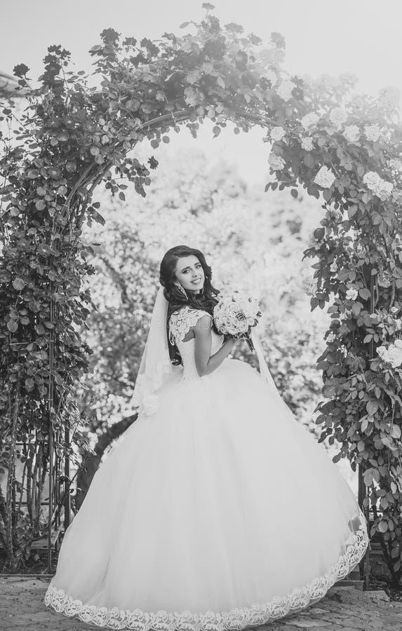 Gezichtsmeisje voor tijdschriftdekking Het portret van het meisjesgezicht in uw advertisnent Bruid met lang donkerbruin haar met  royalty-vrije stock afbeeldingen