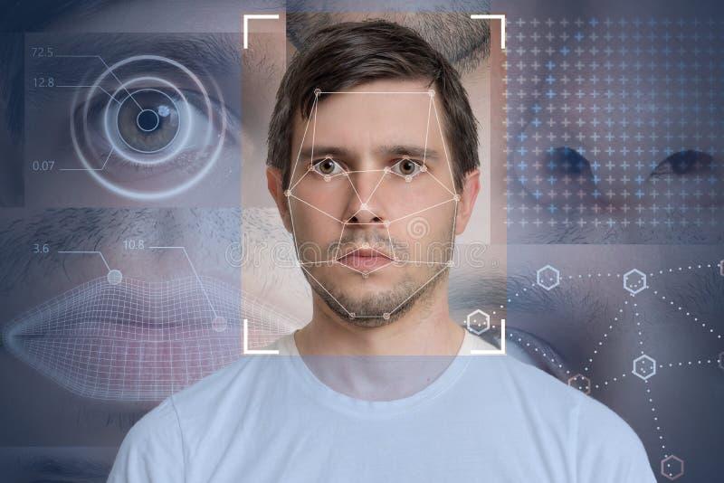 Gezichtsopsporing en erkenning van de mens Computervisie en machine het leren concept royalty-vrije stock afbeelding