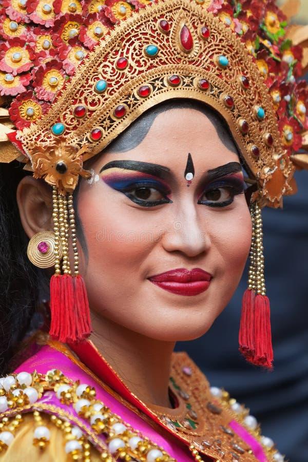 Gezichtsportret van jonge Balinese vrouw stock foto