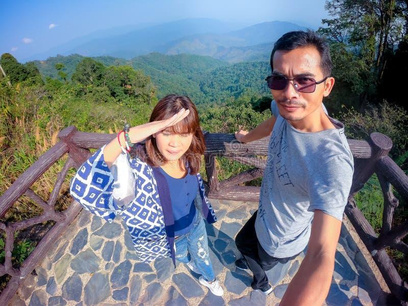 Gezichtspunt bij het Nationale die Park van Doi Phu Kha, in Nan Province, Thailand wordt gevestigd royalty-vrije stock afbeelding