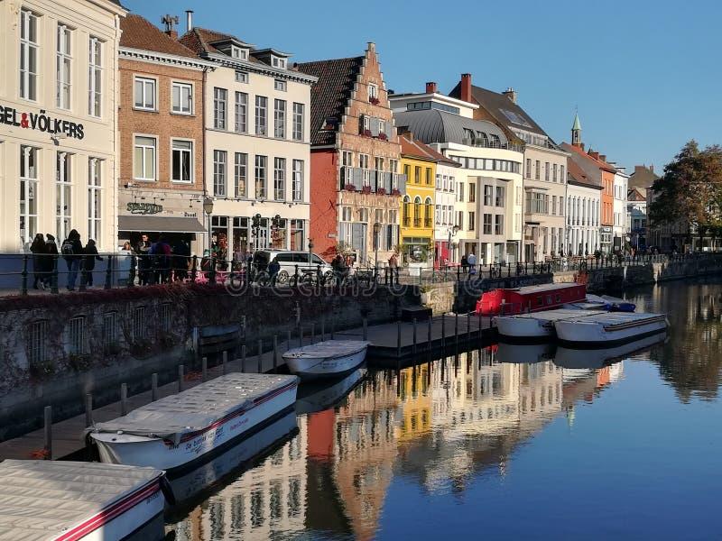 Gezichtspunt bij Leie-Rivier, Gent stock foto